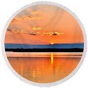 Sunset Reflections 2 Round Beach Towel