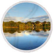 Sunset Reflections On The Lake Round Beach Towel