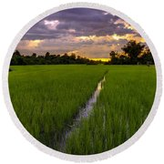 Sunset Rice Fields In Cambodia Round Beach Towel