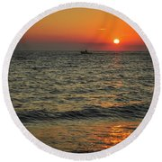 Sunset Ride Cape May Point Nj Round Beach Towel
