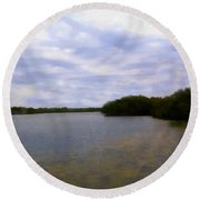 Sunset River Round Beach Towel