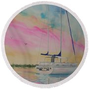 Sunset Sail 3 Round Beach Towel