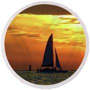 Sunset Sail Away Round Beach Towel