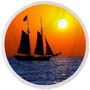 Sunset Sailing In Key West Florida Round Beach Towel
