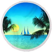 Sunset Sailor Round Beach Towel by Bill Cannon