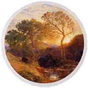 Sunset Round Beach Towel by Samuel Palmer