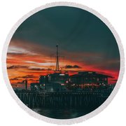 Sunset Santa Monica Pier Round Beach Towel