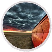 Sunset Saskatchewan Canada Round Beach Towel