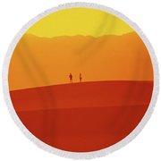 Death Valley Sunset Serenade Round Beach Towel