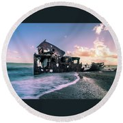 Sunset Shipwreck Round Beach Towel
