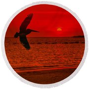 Sunset Silhouette Round Beach Towel