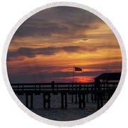 Sunset Silhouette Round Beach Towel