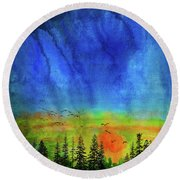 Sunset Silhouette With Canada Geese Round Beach Towel