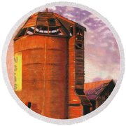 Sunset Silo Round Beach Towel
