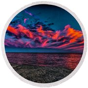 Sunset Sky At East Point Round Beach Towel