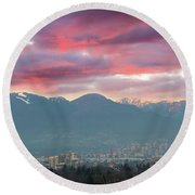 Sunset Sky Over Port Of Vancouver Bc Round Beach Towel