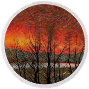 Sunset Soliloquy Round Beach Towel