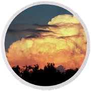 Sunset Storm Clouds Over The Marsh Round Beach Towel
