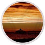 Sunset Stroll Along The Beach 2582 H_2 Round Beach Towel
