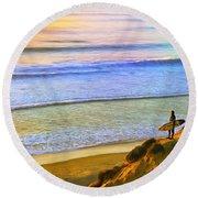 Sunset Surf At La Jolla Round Beach Towel