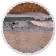 Sunset Surfing Round Beach Towel