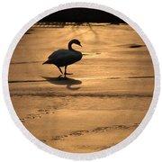 Sunset Swan Round Beach Towel