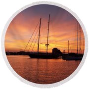 Sunset Tall Ships Round Beach Towel
