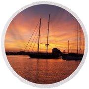 Sunset Tall Ships Round Beach Towel