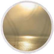 Sunset Through Fog Round Beach Towel