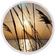 Sunset Through The Dune Grass Round Beach Towel