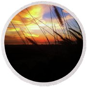 Sunset Through The Sea Grass Round Beach Towel