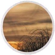 Sunset Through The Seagrass Round Beach Towel