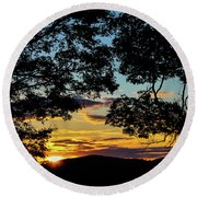 Sunset Through The Trees Round Beach Towel