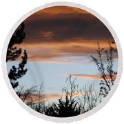Sunset Thru The Trees Round Beach Towel