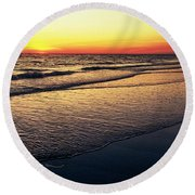 Sunset Time On Sunset Beach Round Beach Towel