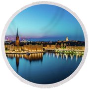 Sunset To Blue Hour Panorama Over Gamla Stan In Stockholm Round Beach Towel