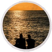 Sunset Together In Key West Round Beach Towel