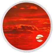 Sunset Round Beach Towel by Tony Beck