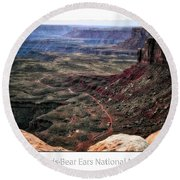 Sunset Tour Valley Of The Gods Utah Text 04 Round Beach Towel