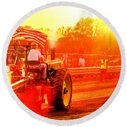 Sunset Tractor Pull Round Beach Towel