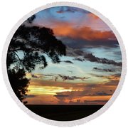 Sunset Tree Florida Round Beach Towel