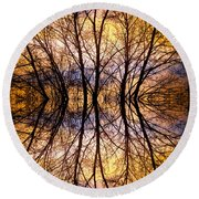 Sunset Tree Silhouette Abstract 1 Round Beach Towel