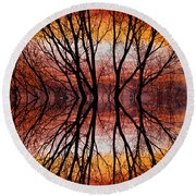 Sunset Tree Silhouette Abstract 2 Round Beach Towel