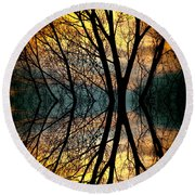 Sunset Tree Silhouette Abstract 3 Round Beach Towel