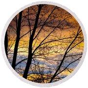 Sunset Tree Silhouette Round Beach Towel
