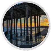 Sunset Under The Ventura Pier Round Beach Towel