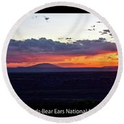 Sunset Valley Of The Gods Utah 05 Text Black Round Beach Towel