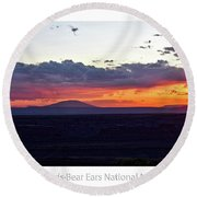 Sunset Valley Of The Gods Utah 05 Text Round Beach Towel