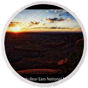 Sunset Valley Of The Gods Utah 11 Text Black Round Beach Towel