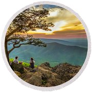 Sunset View At Ravens Roost Panorama Round Beach Towel